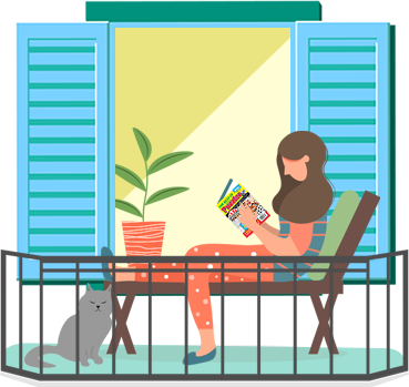 Woman puzzling on balcony