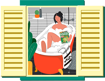Woman puzzling in the bath